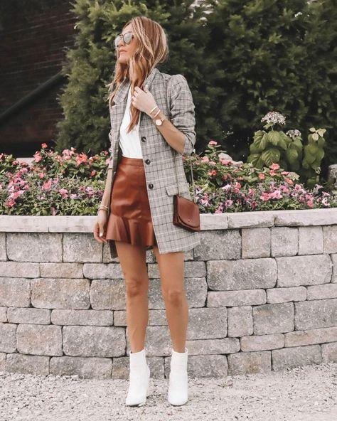 Plaid blazer, leather skirt, Karina Reske   Fall Essentials featured by popular Indianapolis fashion blogger, Karina Style Diaries