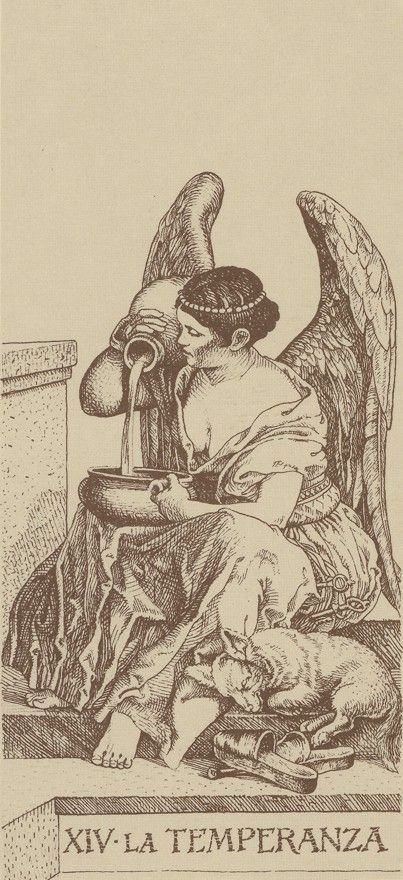 XIV. Temperance - Tarot Dürer by Giacinto Gaudenzi. This card symbolizes one of the stages of the Fool's Journey towards self-discovery. The Fool stands for all of us.