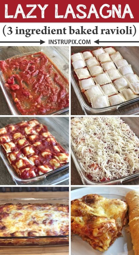 3 Ingredient Ravioli Bake (A. Lazy Lasagna) 3 Ingredient Ravioli Bake (A. Lazy Lasagna),Food LAZY LASAGNA Ingredient Ravioli Bake) — This quick and easy dinner recipe is perfect for the family! Easy Baked Ravioli Recipe, Frozen Ravioli Recipes, Cheese Ravioli Recipe, Frozen Ravioli Bake, Vegan Ravioli, Easy Lasagna Recipe, Oven Baked Ravioli, Pasta Recipes, Easy Baked Ziti