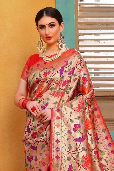 Gorgette paithani floral saree,,,,,engagement saree