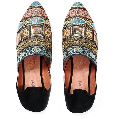 a52803683057 Jeffrey Campbell 'Nevara black multi, babouche slipper ($130) ❤ liked on  Polyvore featuring shoes, flat pointy shoes, kohl shoes, black flat shoes,  ...