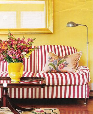 i'm looking for ideas for new slipcovers ~ red stripes?   making a house a  home...   Pinterest   Yellow cottage, Striped couch and Interiors