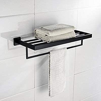 Turs Square Bathroom Bath Towel Rack With Single Towel Bar Wall Mount Shelf Rustproof Stainless Steel Blac Bath Towel Racks Small Bathroom Furniture Towel Bar