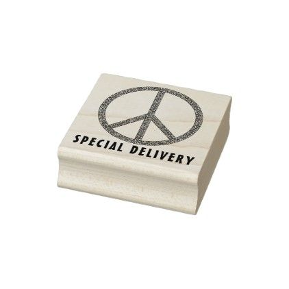 Special Delivery Peace Sign Rubber Stamp Zazzle Com Wood Stamp White Elephant Gifts Funny Peace Sign