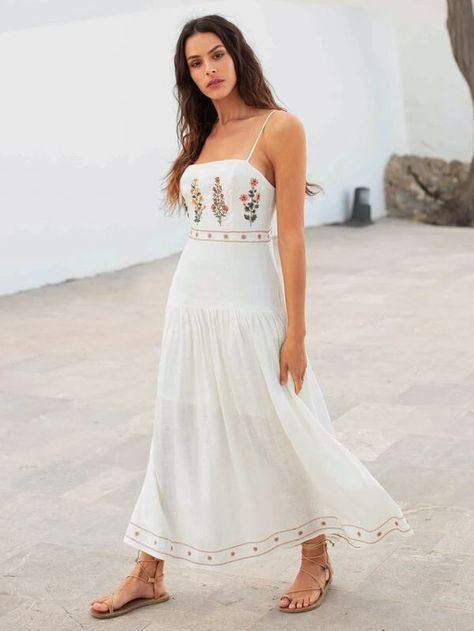 SHEIN Floral Embroidery Cami Dress