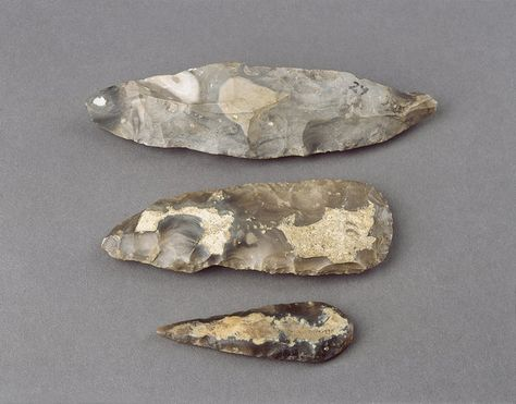 Three Pre-Historic, Lower Palaeolithic Flint Stone Tools  (France)