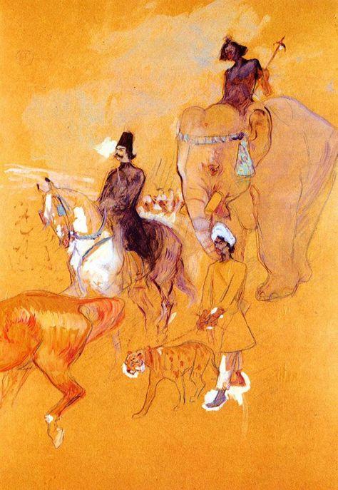 Henri de Toulouse Lautrec #French #drawing #people #animals #event #postimpressionsim #artnouveau #narrative