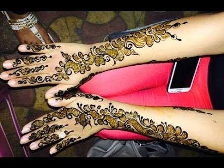 Black And Normal Mehandi Designs Henna Leg Tattoo Mehndi