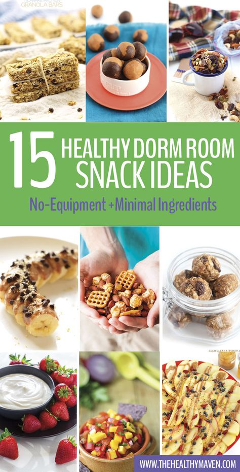 A round-up of healthy dorm room snack ideas that don't require any equipment and can be made with 5 ingredients of less. Perfect for any health-conscious college student with limited space and budget!