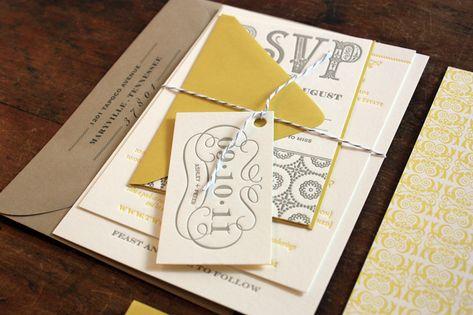 Whimsical yellow and gray wedding invitation.