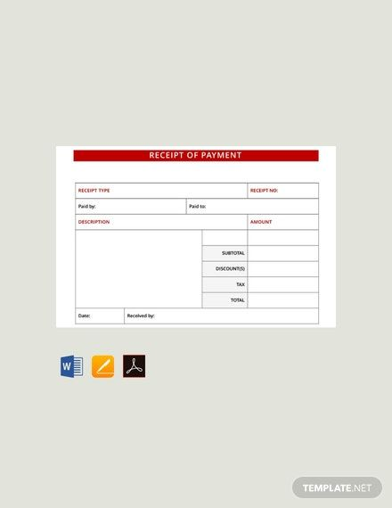 Instantly Download Free Payment Receipt Template Sample Example In Pdf Microsoft Word Doc Microsoft Excel Xls Apple Pa Receipt Template Words Receipt