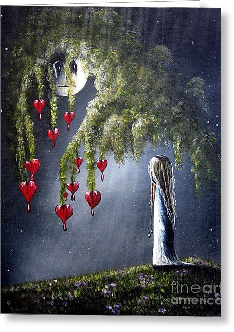 Night Of The Bleeding Hearts By Shawna Erback Greeting Card by Erback Art
