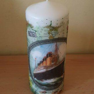 Kerze Hand Gemacht M Schiff Und Meer Farbe Bunt 20 Cm Hoch