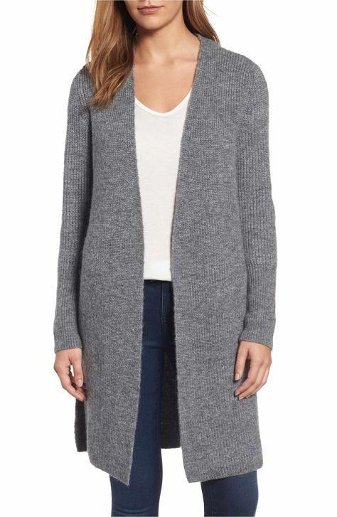 Main Image - Halogen® Long Ribbed Cardigan (Regular & Petite)