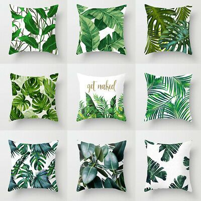Tropical Plants Pillow Case Polyester Home Decor Green Leaves Throw Pillow Cover Tropical Bedroom Decor Tropical Theme Bedroom Tropical Pillows