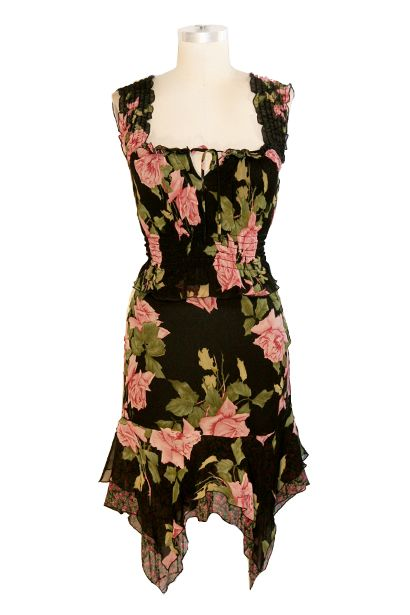 Betsey Johnson Dresses 80s Vintage By Black Fl Silk Chiffon Skirt Pinterest