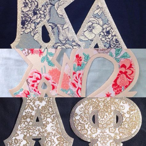 How pretty are these!? These fabrics are not in our letter design center yet, but you can still order them on our website! #kappadelta #chiomega #alphaphi #kd #chio #sorority #paisley #floral #greekletters #customgreek #somethinggreek