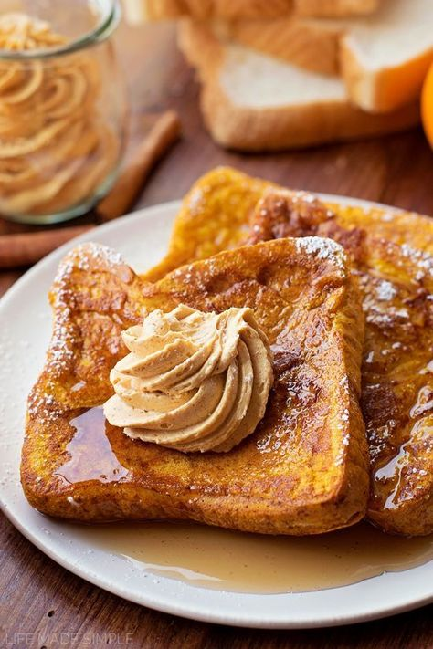 This pumpkin french toast with whipped pumpkin butter is perfect for those chilly fall mornings! It's easy to make, requires only a few ingredients and will be devoured in minutes!