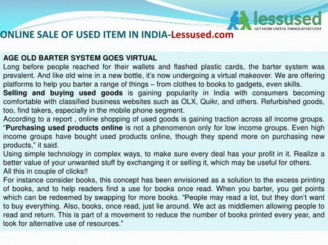 Online sale of used item in india