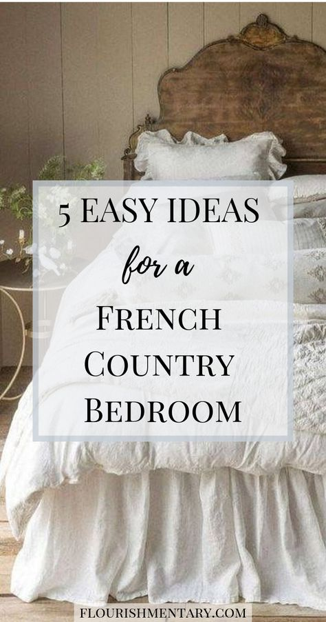 5 Easy Ideas For French Country Bedroom Decor 5 easy tricks to get the french country style in your bedroom These simple ideas can be done on any size budget and you will love this look for years frenchcountry frenchdecor bedroomdecor Modern French Country, French Country Kitchens, French Country Bedrooms, French Country Farmhouse, French Country Living Room, Bedroom Country, Country Homes, French Country Bedding, French Country Interiors