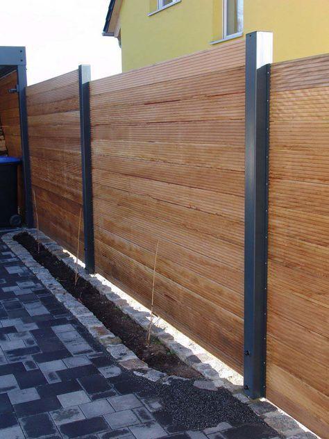 Sichtschutzzaun Holz Metall Carport Anbau Verlangerung Larche Hohe Grau Weiss Fence Design Wood Fence Design Backyard Fences