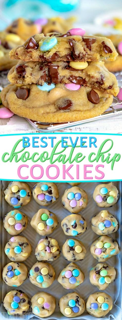 Truly the BEST Bakery Style Chocolate Chip Cookies EVER! Soft and chewy, extra thick and just loaded with sweet chocolate! Come and get 'em! // Mom On Timeout #chocolatechipcookies #Easter #cookies #baking #dessert #recipe #desserts #recipes