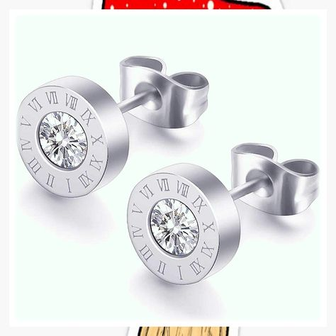 Stainless Steel Round Shape Cubic Zircon Roman Numbers Stud Earrings (This is an affiliate pin) #silverjewelry