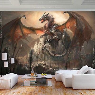 VLIES FOTOTAPETE Drachen TAPETE Fantasy Goth 3D effekt ...
