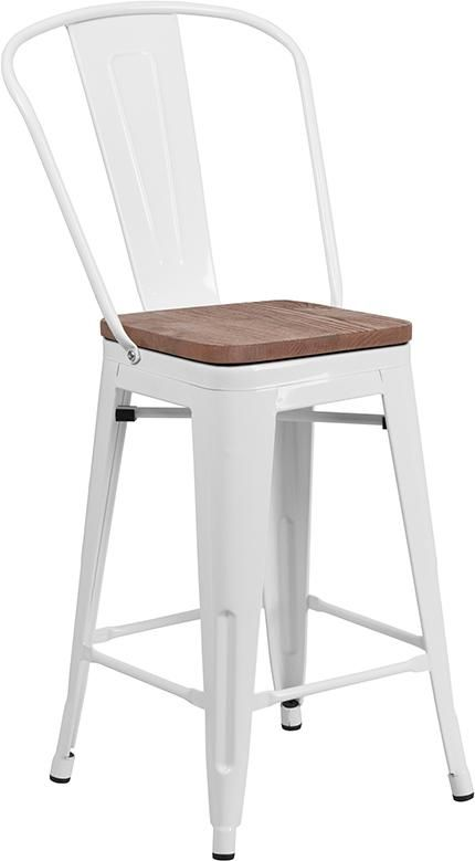 24 High White Metal Counter Height Stool With Back And Wood Seat Ch 31320 24gb Wh Wd Gg Counter Height Stools Stools With Backs Metal Counter Stools
