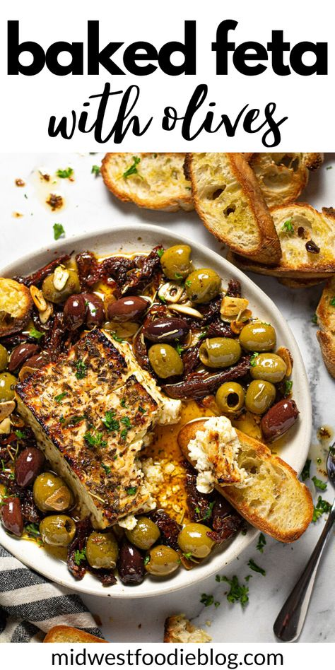 Finger Food Appetizers, Yummy Appetizers, Appetizer Recipes, Appetizer Dinner, Baked Feta Recipe, Cooking Recipes, Healthy Recipes, Appetisers, Mediterranean Recipes