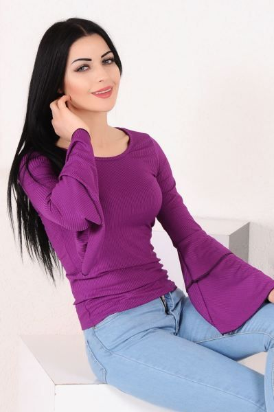 Bluz Kollar Cift Volan Mor Bluz Gunluk Kislik Aksesuar Bayan Giyim Alisveris Modavigo Genc Muhafazakar Sik Modern Dugun Mor Bluz Bluz Modelleri