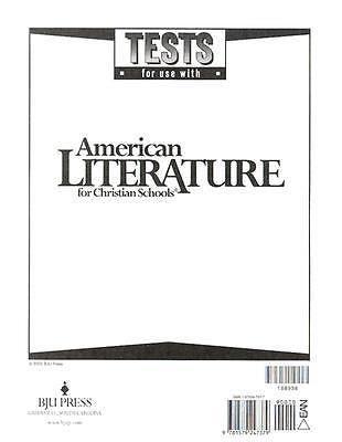 Bob Jones British Literature Student Tests 2nd Edition New Bju