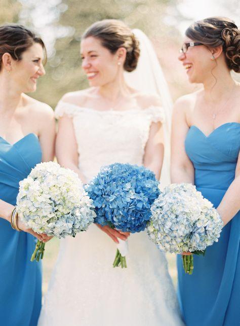 Blue Hydrangea Bouquets | photography by http://www.michaelandcarina.com