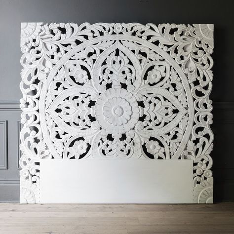 Atika White Carved Headboard | Double Bed Headboard | Atkin and Thyme