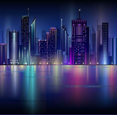 Shiny Night City Landscape Vector City Landscape Night City City Vector