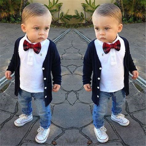 0292d6ad1 3PCS Kids Baby Boy Clothes Jacket + T-shirt + Pants Jeans + Bow Tie ...