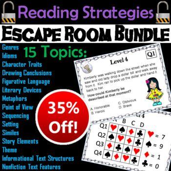 Ela Escape Room Reading Comprehension Figurative Language Identifying Theme Reading Comprehension Figurative Language Transition Words