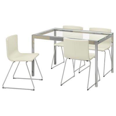 Glivarp Extendable Table Transparent Chrome Plated 125 188x85