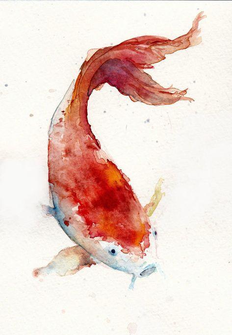 Red Koi Print Koi Malerei Fisch Zeichnung Aquarell Koi