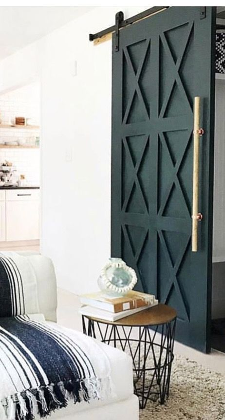 This Is A Beautiful Twist On The Traditional Barn Door That Gold Handle Really Sets This Off Farm House Living Room Home House Interior