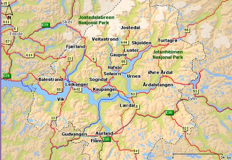 Sognefjord Region Map Norway Trip Planning Pinterest Trip - Urnes norway map