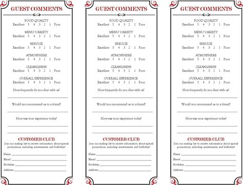 CAFE CONCEPT named CAPUCINES Comment Card Concept  Volksfaden - customer comment card template