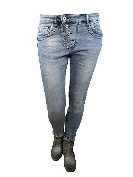 Lexxury Jewelly Damen baggy boyfriend Jeans schräge