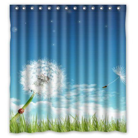 Hellodecor Dandelions Shower Curtain Polyester Fabric Bathroom