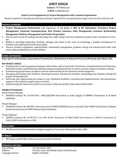 Project Coordinator Sample Resume Lebenslauf Vorlagen