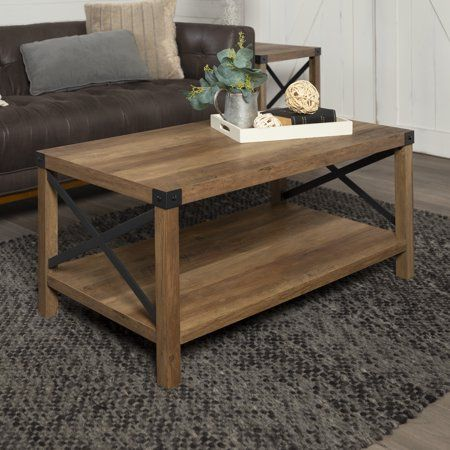 Manor Park 40 Inch Rustic Wood Coffee Table Rustic Oak Beige