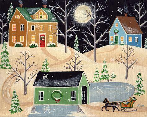 Víspera de Navidad trineo paseo popular lámina por KimsCottageArt