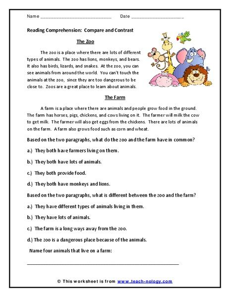 Reading Comprehension Compare And Contrast Worksheet Reading Comprehension Compare And Contrast Reading Comprehension Worksheets Compare and contrast reading worksheets