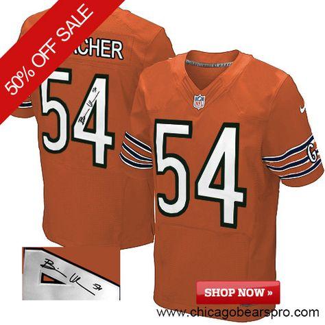 $129.99 Men's Nike Chicago Bears #54 Brian Urlacher Elite Orange NFL Alternate Autographed Jersey