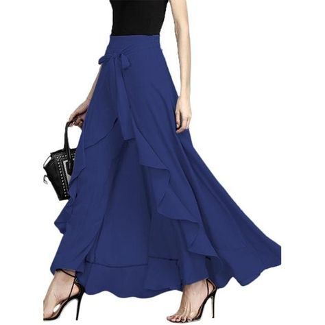 f1351d0e05476 Women Casual High Waist Full Length Wide Leg Trousers Front Bow Tie ...